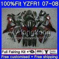 yamaha r1 nuevo carenado al por mayor-Cuerpo de inyección para YAMAHA YZF R 1 YZF 1000 YZFR1 07 08 227HM.18 YZF R1 07 08 YZF1000 YZF-1000 YZF-R1 Llamas rojas nuevo 2007 2008 Fairing Kit