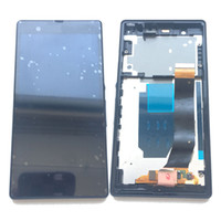 Wholesale l36h lcd - NEW LCD Display Touch Screen Digitizer +Frame For Sony Xperia Z L36h C6603 C6602 White Black With Tempered Glass DHL logistics