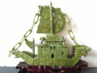 barcos chineses venda por atacado-RARA 100% chinês Natural jade Mão-carved Rare Dragon Boat yifanfengshun