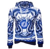 europäisches porzellan großhandel-2018 Herbst und Winter tragen einen neuen europäischen und amerikanischen Herrenpullover mit blauem und weißem Porzellan im chinesischen Stil