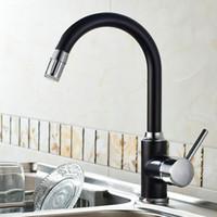 siyah banyo lavabo karıştırıcı dokunun toptan satış-360 Dönen Siyah LED Işık Dokunun Banyo Mutfak Musluk Pirinç Krom Döner Lavabo Sıcaklık Sensörü Renk Led Mikser Dokunun