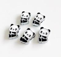 collares de perro diy accesorios al por mayor-10PCs 8MM Enamel Panda Slide Charms Beads Fit 8mm Bracelet Dog pet Collar Cinturones Pulseras DIY Accesorio