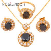 anillos de boda de jade negro al por mayor-Circonio de Las Mujeres de la boda Collar de Pendientes de Tono de Oro Conjuntos de Joyería de Moda Anillo Negro Onyx Crystal Health Sz # 7 JS272