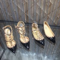 Wholesale black platform slingback - women high heels dress shoes party fashion rivets girls sexy pointed toe shoes buckle platform pumps wedding shoes ,genuine leather