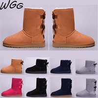 Wholesale red christmas shoes for girls for sale - Group buy Kinds WGG Classic chestnut Australia half Knee Boots for women girls Black Red Grey coffee Snow Boots Bailey Bowknot Warm Shoes Hot Sale