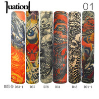 Wholesale tattoo color arms - Huation 6Pcs set Auti Sun Tattoo Accessories Mixed Color Cool Arm Cover Warmer Women Men Elastic Temporary Tattoo Sleeves Arms