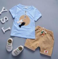 venta de suéteres de niños al por mayor-Ventas al por mayor otoño 2018 traje de los nuevos niños primavera casual suéter de manga larga de dos piezas niño bebé ropa de algodón para niños