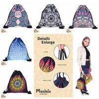 Wholesale kids backpacks hiking for sale - Group buy 5 Styles MANDALA Drawstring Bags New Fashion Women Kids Mandala Drawstring Backpack Pouch Gift Children School Bags CCA9669