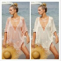 Wholesale solid color swimsuit cover ups - 2 Colors Sexy Beach Cover Ups Free Size Loose Knitted Beach Cover- Ups Beach Swimsuit Bikini Cover Dresses CCA8786 10pcs