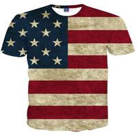 модные футболки с длинными рукавами оптовых-Дизайнер 3D футболки флаг США футболка мужчины 3d футболка печати полосатый американский флаг мода прилив женщины футболка летние топы тройники M-4XL