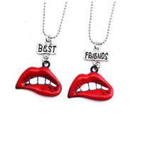 Wholesale lips necklace wholesale - 12pair lot best friends necklace silver tone beautiful colorful big red lips charm BFF pendant necklace Children's day gift
