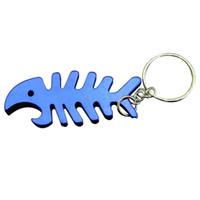 Wholesale fish bottle opener keychain for sale - Group buy New multicolor Fish Bone Bottle Opener fish bone skeleton shape Keyring Keychain Ring Bar Tool