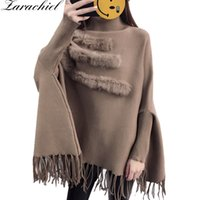 пуловеры из меха оптовых-Real  Fur Patchwork Cloak Turtleneck Pullover Cape And Poncho Shawl Fashion Tassel Women Autumn Winter Bat Sleeves Sweater