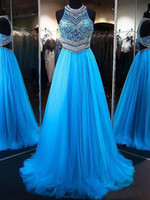 Wholesale evening gowns backs for women resale online - Sexy Elegant Prom Dresses for Pageant Women A Line Princess Jewel Sleeveless Sweep Train Beading Tulle Long Formal Evening Party Gowns