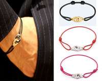 Wholesale Titanium Rope Bracelet Black - Fashion Brand Women and man size bracelet Handmade Rope Chain Bracelet Charm Titanium Stainless Steel with manacle Brand jewelry PS5229