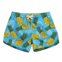 синие белые шорты оптовых-S To XL Elastic Women Summer Sports Shorts 5 Paerns Pineapple Print Workout Girls Beach Shorts Blue White Black Colors
