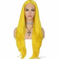 pelucas cosplay naturales del color al por mayor-Pelucas de Cosplay naturales suaves sedoso fibra sintética resistente al calor de color naranja amarillo peluca sintética natural del frente del cordón para mujeres negras
