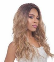 Wholesale best body waves for hair online - New Hot Long Body Wave Lace Front Ombre Brown Blonde Wigs For Women Heat Synthetic Fiber Glueless Black Cheap Best Quality As Human Hair