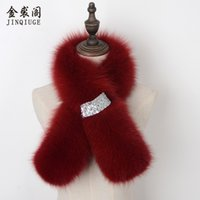 Wholesale Real Fur Scarfs - JINQIUGE Winter warm scarf for women real fox fur scarves female Genuine fox fur ring lady natural collar accessories