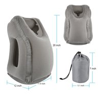 Wholesale Travel Rest - Grey Inflatable Travel Pillow Ergonomic and Portable Head Neck Rest Pillow,Patented Design for Airplanes, Cars, Buses, Trains Office Napping