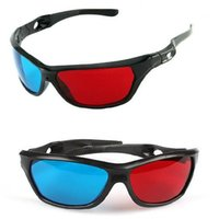 Wholesale plastic anaglyph 3d glasses online - Black Frame Universal D Plastic glasses Oculos Red Blue Cyan D glass Anaglyph D Movie Game DVD vision cinema