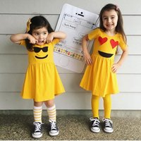 Wholesale Expressions Clothing - New 2018 Girls Dresses Expression Face Cute Pattern Dress Yellow Summer Children Clothes Dresses Shorts Sleeve Cotton Girl's Dress A8384