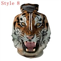 Wholesale Red Sweatshirt Hoodie - Fashion Galaxy 3D Printing Hoodies Sweatshirts Pullover Long Sleeve Tiger Sweater Fall Winter Clothing Loose Free Shipping