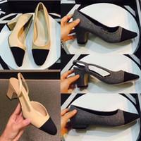 kadınlar için düz meşhur ayakkabılar toptan satış-Klasik Kadın Bej Gri Pompaları Deri Arkası Açık Iskarpin Sandalet / Pompalar / Flats Ünlü C Marka Cap Toe Elbise Düğün Ayakkabıları