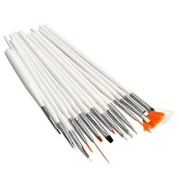 15 tırnak fırçası beyaz ayarla toptan satış-15 Adet / takım Için Beyaz Tırnak Sanat Fırça Seti Fırçalar Manikür Tasarım Tırnak Için Rhinestones Akrilik Fırça Sanat