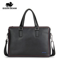мужские кожаные сумки оптовых-BISON DENIM  handbag shoulder bags business men briefcase laptop bolsos men's travel bags genuine leather bag
