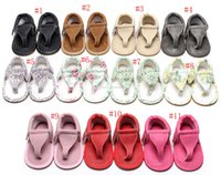 Wholesale newborn size leather walkers resale online - 2017 New Baby PU summer flip flops sandals infant First Walkers newborn baby Walkers shoes colors C2005