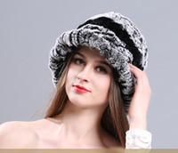 senhoras tricô chapéu aba venda por atacado-Outono e Inverno Rex Chapéu De Pele Das Senhoras Pele De Coelho Quente Chapéu De Malha para As Mulheres Elegantes Gorros Quente Chapéu De Neve Chapéu De Aba
