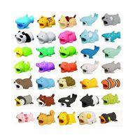 niedlicher kaninchentelefonhalter großhandel-Cute Cable Bite Protector für iPhone Kabelaufwicklung Phone Halter Zubehör Kabel Bitters Hund Hase Katze Tier Puppe Squishy Spielzeug
