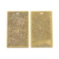 antike bronze tags großhandel-5 stücke Antike Bronze Rechteck Metall Tags charms Messing Blank Stamping Tag Anhänger für gravur diy 32x18x0,3mm, loch: 1mm