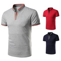 Wholesale polo v neck tees - Mens V Neck Polo Shirt Stand Collar Business Tops Summer Slim Fit Short Sleeve Casual Polo Tee