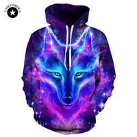 kurt galaksisi hoodies toptan satış-Galaxy Kurt Baskılı Hoodies Erkekler 3d Sweatshrit Eşofman Hayvan Streetwear Rahat Kazak Ceket EUR Artı Boyutu Hoody Dropshipping