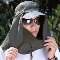 sombreros de protección solar cubierta de cara al por mayor-Deporte al aire libre Senderismo Camping Visera Sombrero Protección UV Cara Cuello Cubierta Pesca Gorra de protección solar