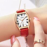 weinlesequarzuhrfrauenarmband großhandel-Luxus römischen Ziffern Frauen Uhren Kleid Armband Vintage Leder Quarz Damenuhr Rose Gold Damenuhr