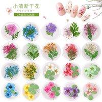 potes de gel de unhas uv venda por atacado-6 potes unhas frescas naturais secas flores para uv gel nail art uv dicas gel decoração prego suprimentos ferramenta