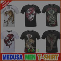 Wholesale skull bead crystals - Newest Skull brand German Men shirt Best quality Italy high-end designer clothing shape perfect Asian Medusa men's T-shirt code size M--3XL