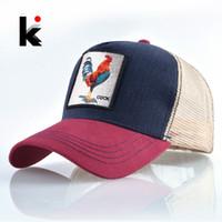 Wholesale top cock - Top Fashion Baseball Cap For Men Women Summer Mesh Embroidery Cock Trucker Bones Snapback Hip Hop Hat Casual Cotton Casquette