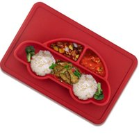 Wholesale Dinner Plates Bowls - Silicone Baby Bowl Placemat Separated Design Plate Slip-resistant Kid Dinner Plate Baby Feeding Bowl Silicone Car design tableware KKA3997