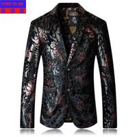 blazers uniques achat en gros de-Nouvelle arrivée de mode de haute qualité Hommes Costume de style Veste de velours d'impression unique boutonné Casual Blazer Hommes plus la taille M L-XL-5XL