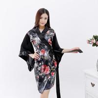 impressão japonesa venda por atacado-Mulheres Sexy Imprimir Flor De Cetim Pijamas Kimono Roupão de Banho Vestidos de Estilo Japonês Cosplay Camisola Desgaste Casa Elegante Robe De Rayon