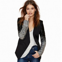Wholesale Ladies Pu Jackets - New 2017 Slim Women Pu Patchwork Black Silver Sequins Jackets Full Sleeve Fashion Spring Coat for Young Lady BL006