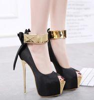 Wholesale black satin peep toe pumps - Hot! New Women High heels Satin Bowknot Spell color Buckle 16cm overheight with metal stiletto Heel Women's shoes