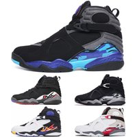 Wholesale chrome table - 2018 New Designer 8 8s Mens Basketball Shoes Aqua CHROME Black white Sports Sneakers Men shoe Playoff Three Peat size 41-47