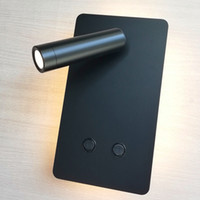 siyah duvar anahtarı toptan satış-TopocH Başucu Aplikleri Çift Anahtarlamalı Arka Işık 6W Okuma Işığı 3W LED Bağımsız Çalışma Beyaz / Siyah Yatay / Dikey Montaj