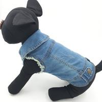 ingrosso maglia azzurra superiore-Summer Puppy Dog Vest Giacca di jeans Costume Top Fashion Jeans Vestiti per cani di taglia piccola -Blue -Xs -Xxl