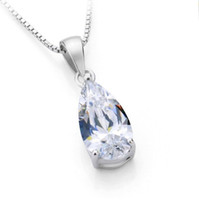 подвеска с бриллиантами оптовых-Top  Vintage 2.5 Carat Water Drop  SONA Synthetic Diamonds Engagement Pendant Necklace Vintage Pendant